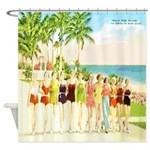 Miami Beach Beauties Shower Curtain