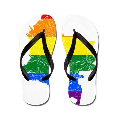 Colombia Rainbow Pride Flag And Map Flip Flops