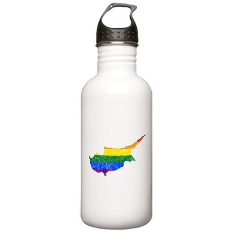 Cyprus Rainbow Pride Flag And Map Stainless Water