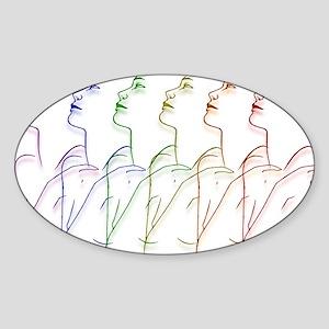Facing Left Oval Sticker