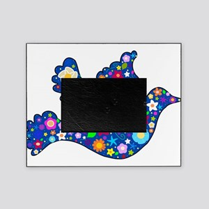 Navy Blue Dove of Flowers Picture Frame
