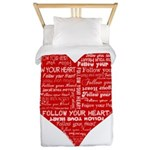 Follow Your Heart Red Typography Twin Duvet