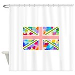 Heart filled Union Jack Flag Shower Curtain