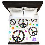 Peace signs and flowers pattern King Duvet