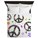 Peace signs and flowers pattern Queen Duvet