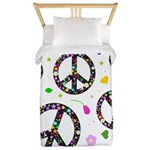 Peace signs and flowers pattern Twin Duvet