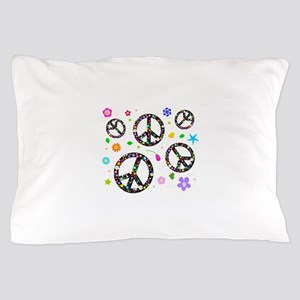 Peace signs and flowers pattern Pillow Case