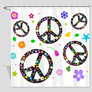 Peace signs and flowers pattern Shower Curtain