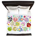 Cute cartoon owls and colorful flowers pattern Kin