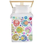 Cute cartoon owls and colorful flowers pattern Twi