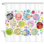 Cute cartoon owls and colorful flowers pattern Sho