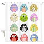 Cute Owls Pattern Shower Curtain