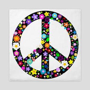Hippie Flowery Peace Sign Queen Duvet
