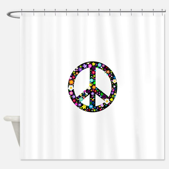 Hippie Flowery Peace Sign Shower Curtain
