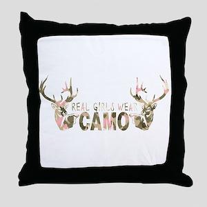 REAL GIRLS WEAR CAMO Throw Pillow