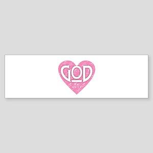 God is Love - Pink Bumper Sticker