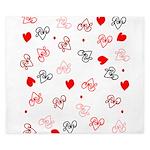Love Heart Typography Pattern King Duvet