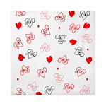 Love Heart Typography Pattern Queen Duvet