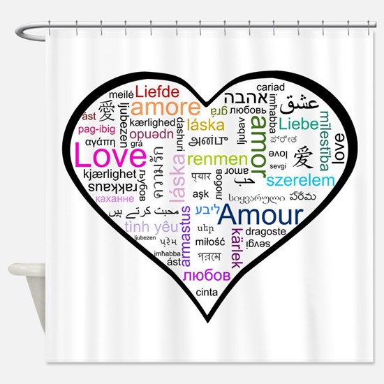 Heart Love in different languages Shower Curtain