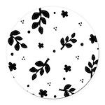 Leaf silhouette pattern Round Car Magnet