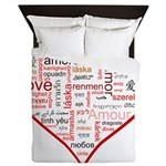 Words for Love in different languages Queen Duvet