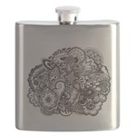 Pen Ink Detailed Line Drawing Flask
