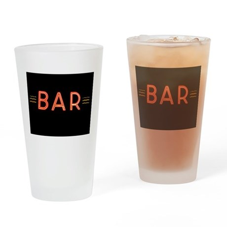 Bright Neon Sign: BAR Drinking Glass