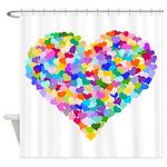 Rainbow Heart of Hearts Shower Curtain