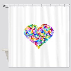 Rainbow Heart Of Hearts Shower Curtain