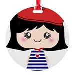 Cute French Girl cartoon Round Ornament