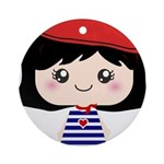 Cute French Girl cartoon Ornament (Round)