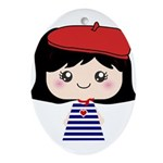 Cute French Girl cartoon Ornament (Oval)