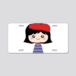 Cute French Girl cartoon Aluminum License Plate