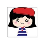 Cute French Girl cartoon Square Sticker 3