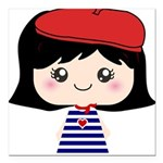 Cute French Girl cartoon Square Car Magnet 3