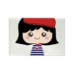 Cute French Girl cartoon Rectangle Magnet (100 pac