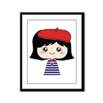 Cute French Girl cartoon Framed Panel Print