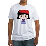 Cute French Girl cartoon Fitted T-Shirt