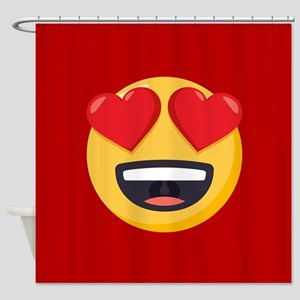 Heart Eyes Emoji Shower Curtain