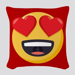 Heart Eyes Emoji Woven Throw Pillow