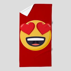 Heart Eyes Emoji Beach Towel
