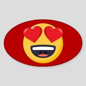 Heart Eyes Emoji Sticker (Oval)