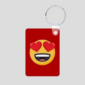 Heart Eyes Emoji Aluminum Photo Keychain