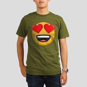 Heart Eyes Emoji Organic Men's T-Shirt (dark)