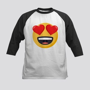Heart Eyes Emoji Kids Baseball Tee