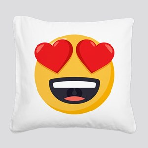 Heart Eyes Emoji Square Canvas Pillow