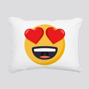 Heart Eyes Emoji Rectangular Canvas Pillow