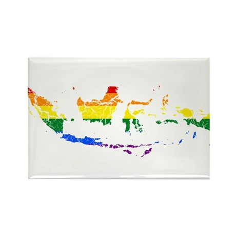 Indonesia Rainbow Pride Flag And Map Rectangle Mag