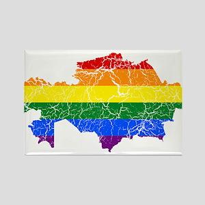 Kazakhstan Rainbow Pride Flag And Map Rectangle Ma