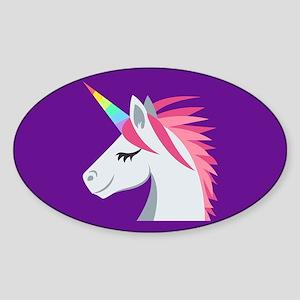 Unicorn Emoji Sticker (Oval)